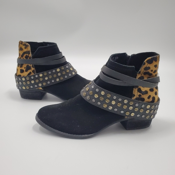 Studded Strappy Ankle Boots Leopard